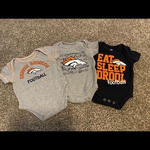 Denver Broncos Onesies, Size 0/3 months